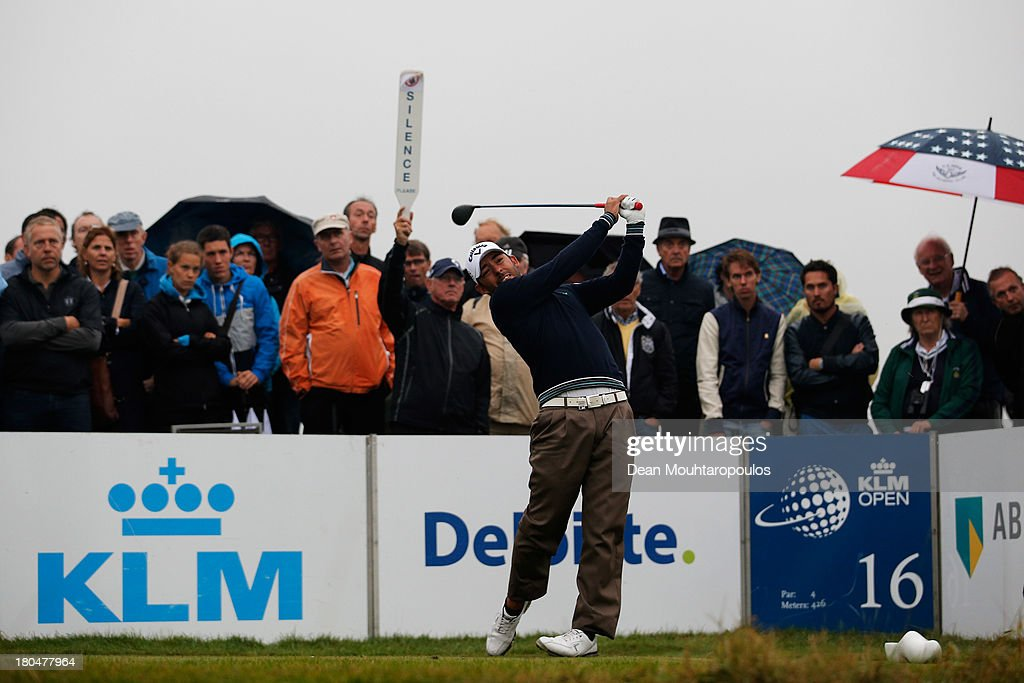 Pablo Larrazabal of Spain hits his tee shot on the 16th hole during Day 2 of the KLM Open at Kennemer G & CC on September 13, 2013 in Zandvoort, Netherlands.