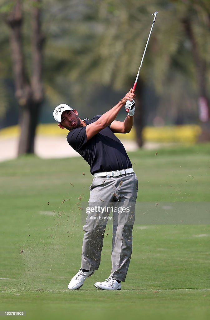 <a gi-track='captionPersonalityLinkClicked' href=/galleries/search?phrase=Pablo+Larrazabal&family=editorial&specificpeople=4022842 ng-click='$event.stopPropagation()'>Pablo Larrazabal</a> of Spain in action during day three of the Avantha Masters at Jaypee Greens Golf Club on March 16, 2013 in Delhi, India.