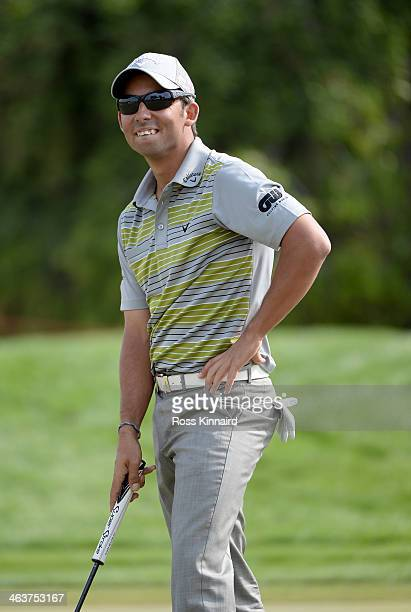 Pablo Larrazabal of Spain in action during the final round of the Abu Dhabi HSBC Golf Championship at the Abu Dhabi Golf Club on January 19 2014 in...