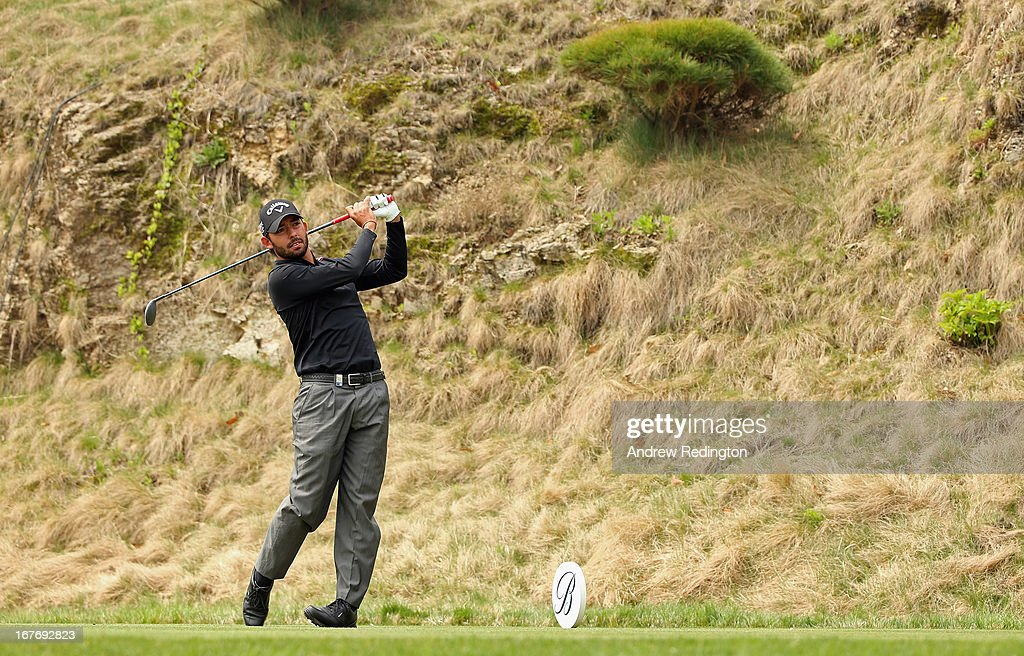 <a gi-track='captionPersonalityLinkClicked' href=/galleries/search?phrase=Pablo+Larrazabal&family=editorial&specificpeople=4022842 ng-click='$event.stopPropagation()'>Pablo Larrazabal</a> of Spain in action during the final round of the Ballantine's Championship at Blackstone Golf Club on April 28, 2013 in Icheon, South Korea.