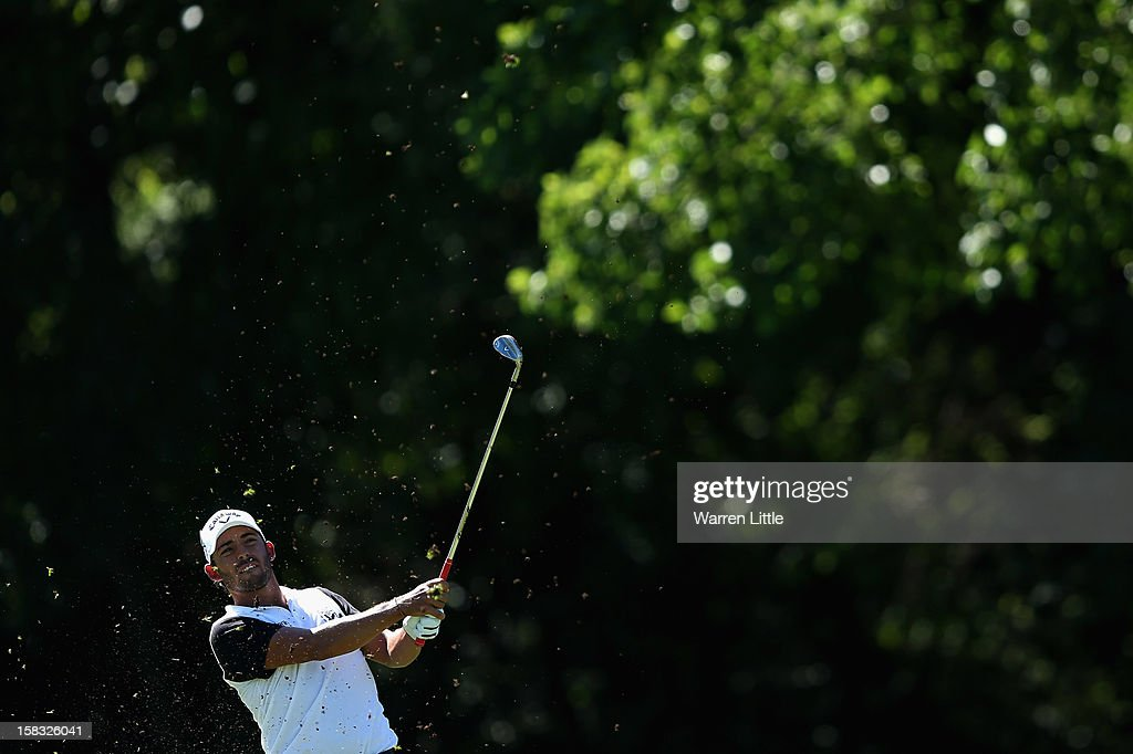 <a gi-track='captionPersonalityLinkClicked' href=/galleries/search?phrase=Pablo+Larrazabal&family=editorial&specificpeople=4022842 ng-click='$event.stopPropagation()'>Pablo Larrazabal</a> of Spain in action during the first round of the Alfred Dunhill Championship at Leopard Creek Country Golf Club on December 13, 2012 in Malelane, South Africa.