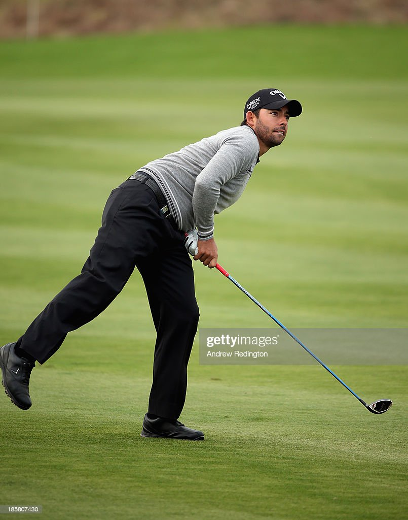 Pablo Larrazabal of Spain in action during the second round of the BMW Masters at Lake Malaren Golf Club on October 25, 2013 in Shanghai, China.