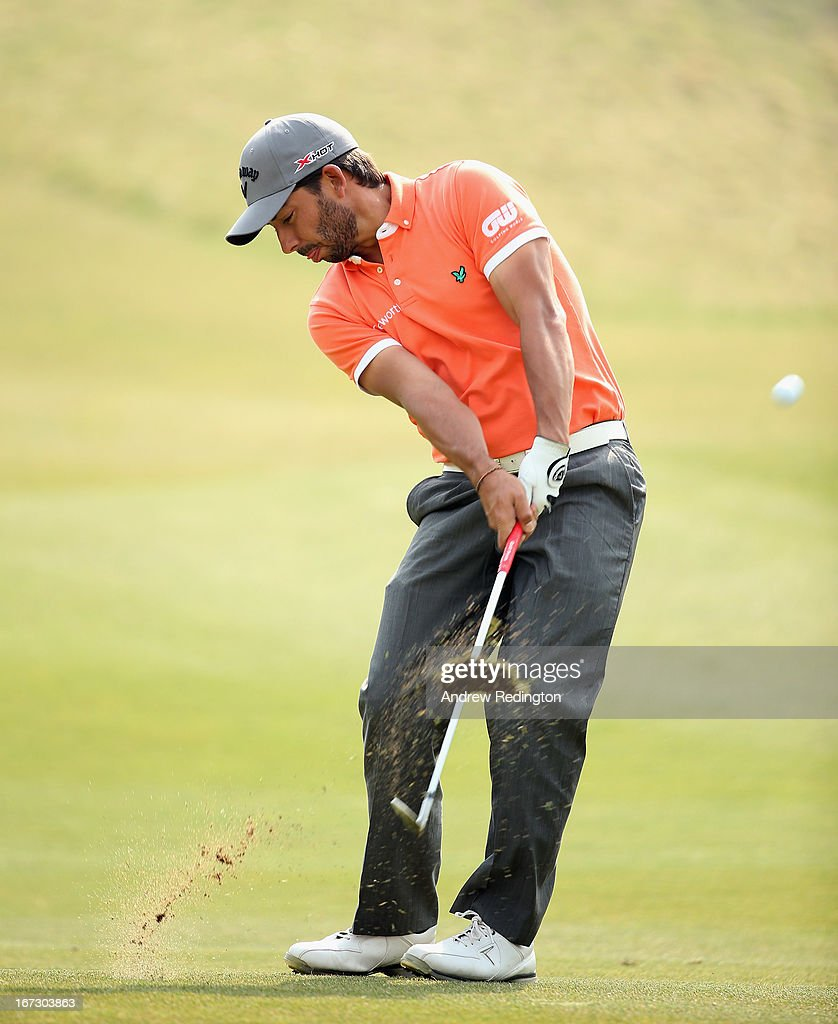 <a gi-track='captionPersonalityLinkClicked' href=/galleries/search?phrase=Pablo+Larrazabal&family=editorial&specificpeople=4022842 ng-click='$event.stopPropagation()'>Pablo Larrazabal</a> of Spain in action on Pro Am day prior to the start of the Ballantine's Championship at Blackstone Golf Club on April 24, 2013 in Icheon, South Korea.