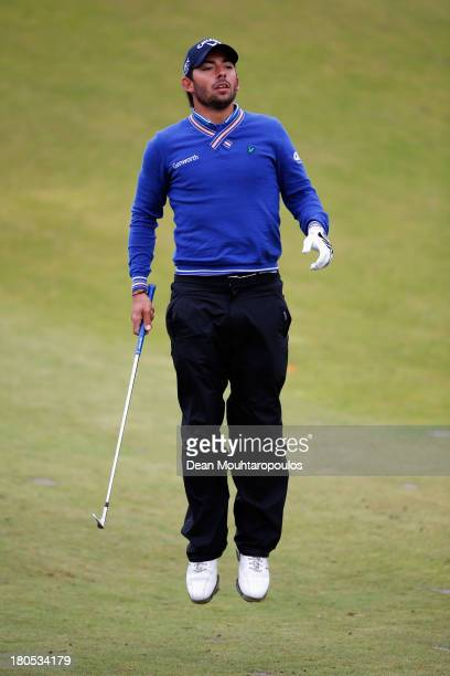 Pablo Larrazabal of Spain jumps as he lines up his second shot on the 14th hole during Day 3 of the KLM Open at Kennemer G CC on September 14 2013 in...