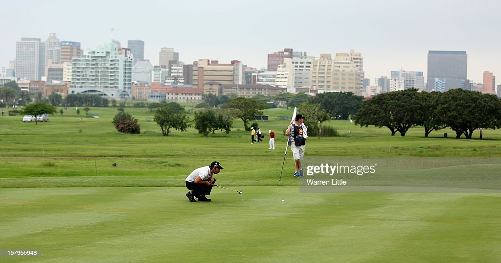 Pablo Larrazabal of Spain line up a putt during the first round of The Nelson Mandela Championship presented by ISPS Handa at Royal Durban Golf Club on December 8, 2012 in Durban, South Africa.
