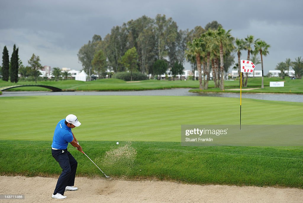 Pablo Larrazabal of Spain plays a bunker shot during the first round of the Open de Espana at Real Club de Golf de Sevilla on May 3 2012 in Seville...