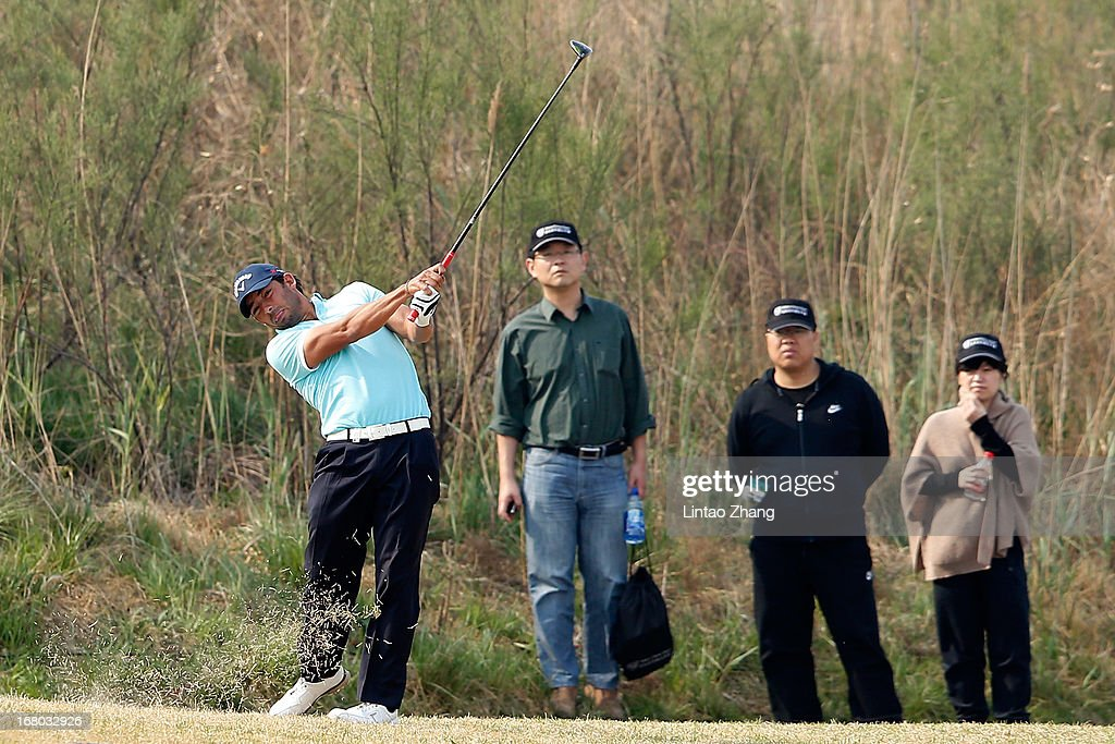 Pablo Larrazabal of Spain plays a shot during the third day of the Volvo China Open at Binhai Lake Golf Course on May 4, 2013 in Tianjin, China.