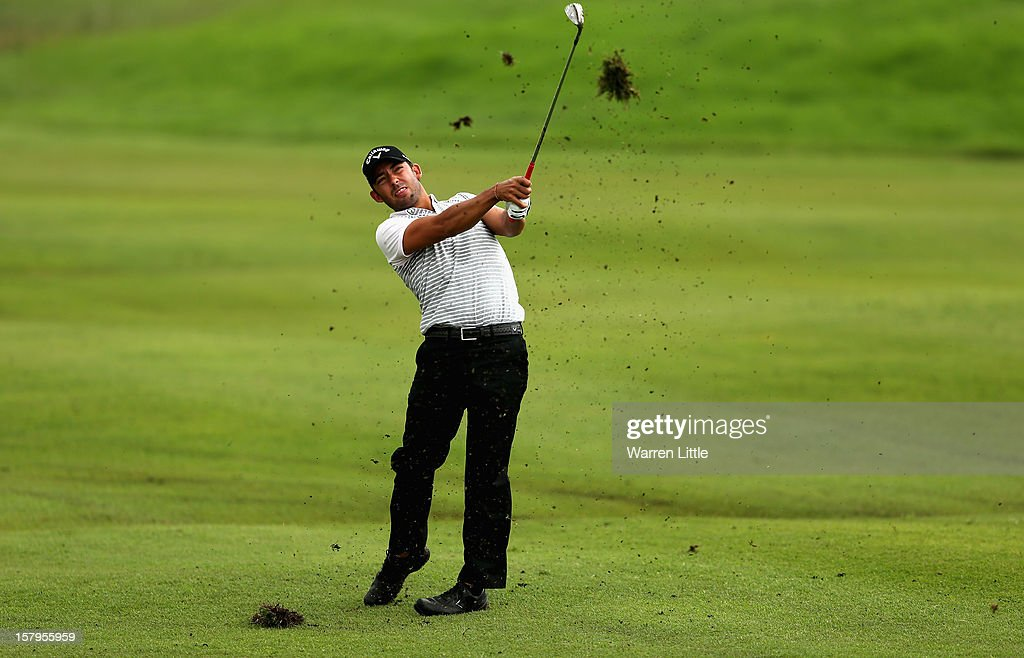 Pablo Larrazabal of Spain plays his second shot into the 17th green during the first round of The Nelson Mandela Championship presented by ISPS Handa at Royal Durban Golf Club on December 8, 2012 in Durban, South Africa.