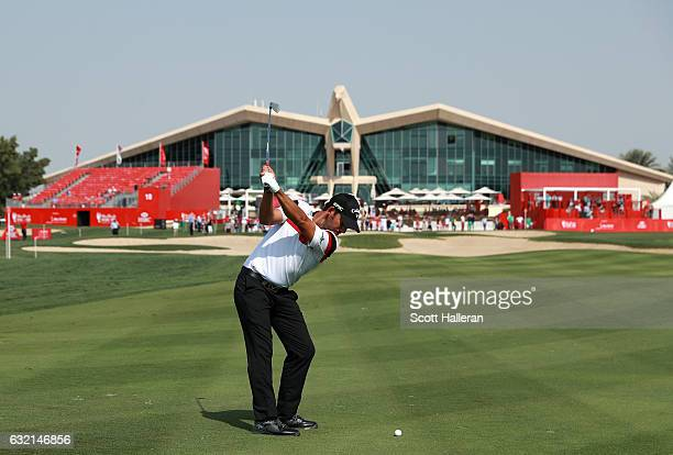 Pablo Larrazabal of Spain plays his second shot on the 9th hole during the second round of the Abu Dhabi HSBC Championship at the Abu Dhabi Golf Club...