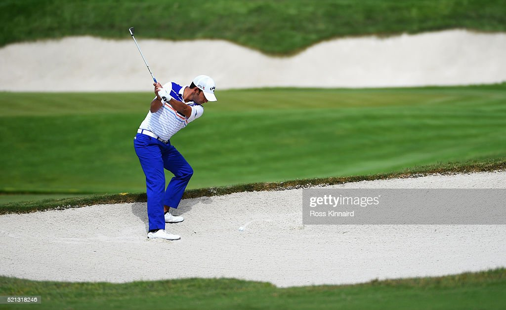 Pablo Larrazabal of Spain plays his third shot on the 17th hole during day two of the Open de Espana at Real Club Valderrama on April 15 2016 in...