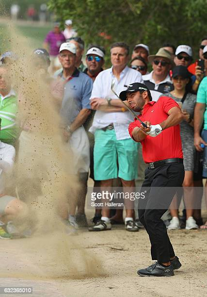 Pablo Larrazabal of Spain plays his third shot on the 2nd hole during the final round of the Abu Dhabi HSBC Championship at Abu Dhabi Golf Club on...