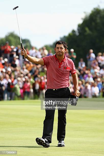 Pablo Larrazabal of Spain reacts as he just misses a birdie putt to win on the 18th green during the final round of the BMW International Open at...