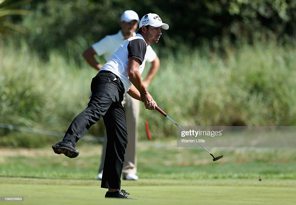 Pablo Larrazabal of Spain reacts to a missed putt during the first round of the Alfred Dunhill Championship at Leopard Creek Country Golf Club on December 13, 2012 in Malelane, South Africa.