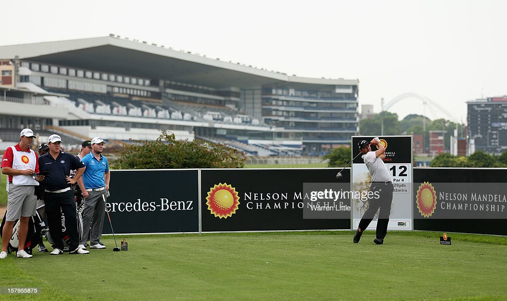 Pablo Larrazabal of Spain tees off on the 12th hole during the first round of The Nelson Mandela Championship presented by ISPS Handa at Royal Durban Golf Club on December 8, 2012 in Durban, South Africa.