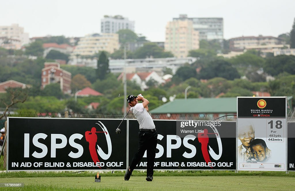 Pablo Larrazabal of Spain tees off on the 18th hole during the first round of The Nelson Mandela Championship presented by ISPS Handa at Royal Durban Golf Club on December 8, 2012 in Durban, South Africa.