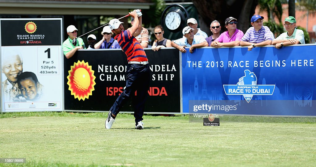 Pablo Larrazabal of Spain tees off on the first hole during the second round of The Nelson Mandela Championship presented by ISPS Handa at Royal Durban Golf Club on December 9, 2012 in Durban, South Africa.