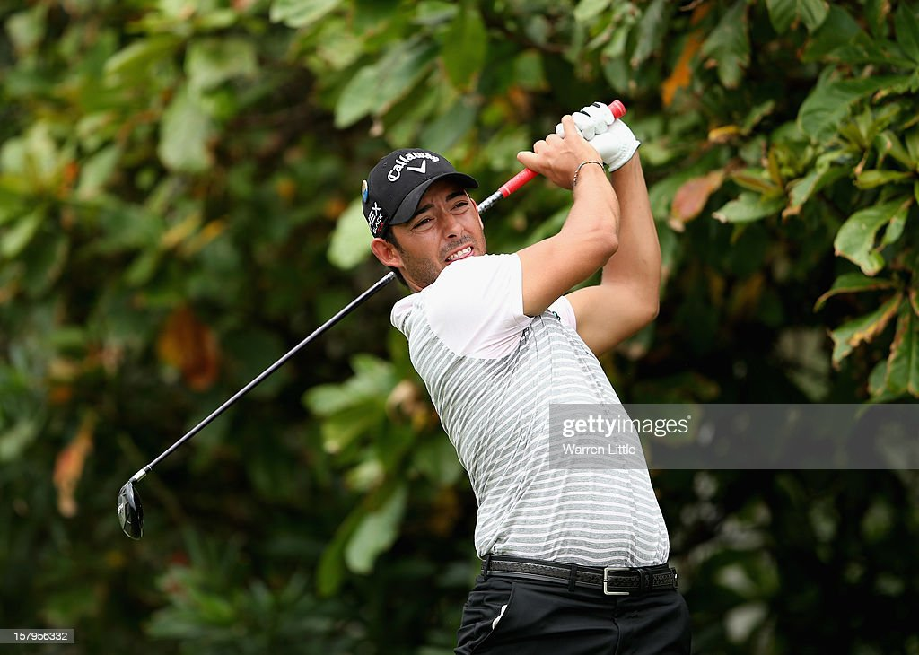 Pablo Larrazabal of Spain tees off on the second hole during the first round of The Nelson Mandela Championship presented by ISPS Handa at Royal Durban Golf Club on December 8, 2012 in Durban, South Africa.
