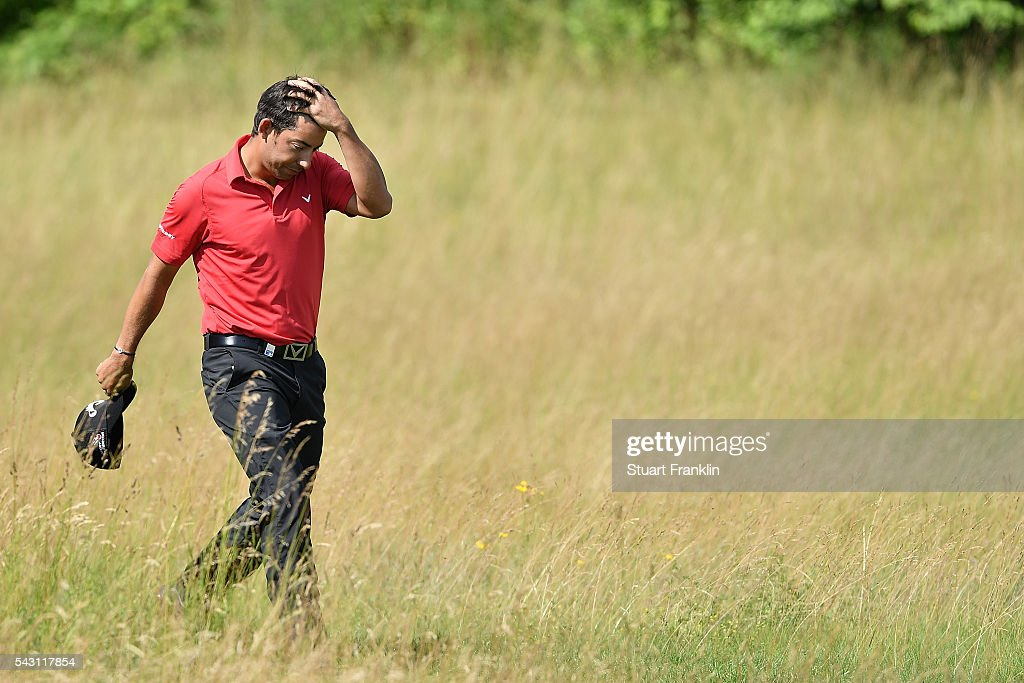 <a gi-track='captionPersonalityLinkClicked' href=/galleries/search?phrase=Pablo+Larrazabal&family=editorial&specificpeople=4022842 ng-click='$event.stopPropagation()'>Pablo Larrazabal</a> of Spain walks during the rain delayed third round of the BMW International Open at Gut Larchenhof on June 26, 2016 in Cologne, Germany.