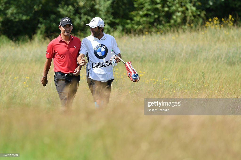 <a gi-track='captionPersonalityLinkClicked' href=/galleries/search?phrase=Pablo+Larrazabal&family=editorial&specificpeople=4022842 ng-click='$event.stopPropagation()'>Pablo Larrazabal</a> of Spain walks with his caddie during the rain delayed third round of the BMW International Open at Gut Larchenhof on June 26, 2016 in Cologne, Germany.