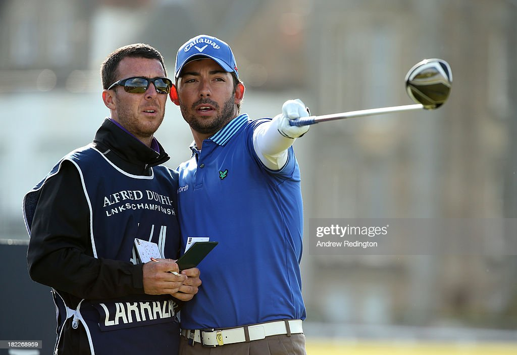 Pablo Larrazabal of Spain with his caddy on the second tee during the final round of the Alfred Dunhill Links Championship on The Old Course, at St Andrews on September 29, 2013 in St Andrews, Scotland.