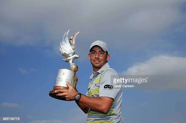 Pablo Larrazabal of Spain with the trophy after the final round of the 2014 Abu Dhabi HSBC Golf Championship at Abu Dhabi Golf Club on January 19...