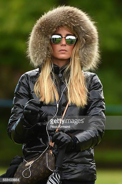 Pablo Larrazabal of Spain's wife Gala Ortin looks on during the final round of the Dubai Duty Free Irish Open Hosted by the Rory Foundation at The K...