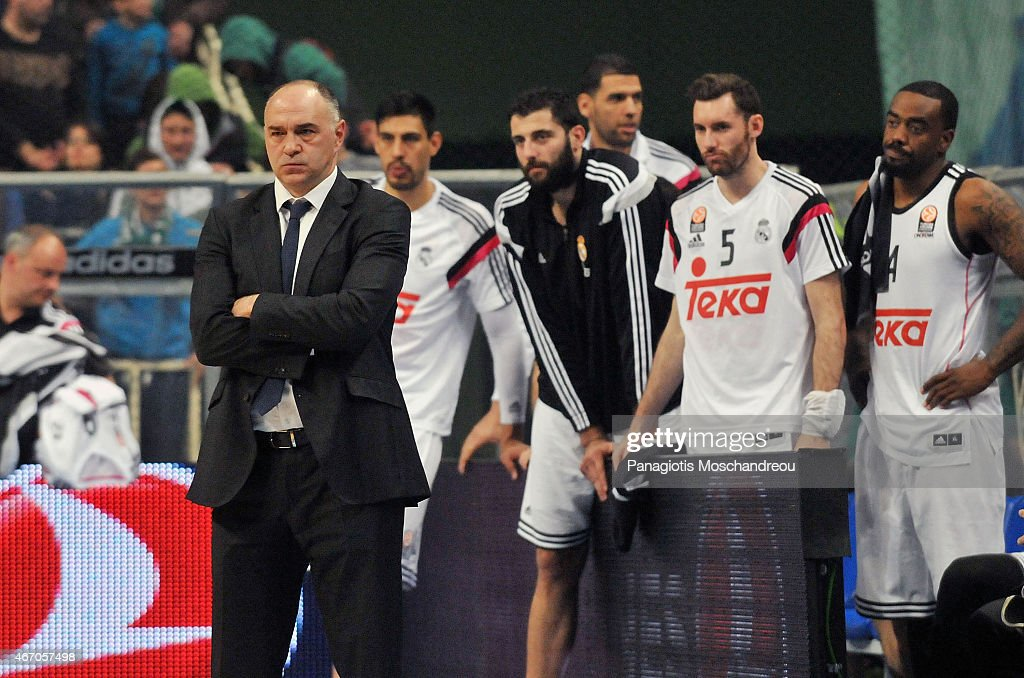 <a gi-track='captionPersonalityLinkClicked' href=/galleries/search?phrase=Pablo+Laso&family=editorial&specificpeople=8393239 ng-click='$event.stopPropagation()'>Pablo Laso</a>, Head Coach of Real Madrid and his players react disappointed during the Turkish Airlines Euroleague Basketball Top 16 Date 11 game between Panathinaikos Athens v Real Madrid at Olympic Sports Center Athens on March 20, 2015 in Athens, Greece.