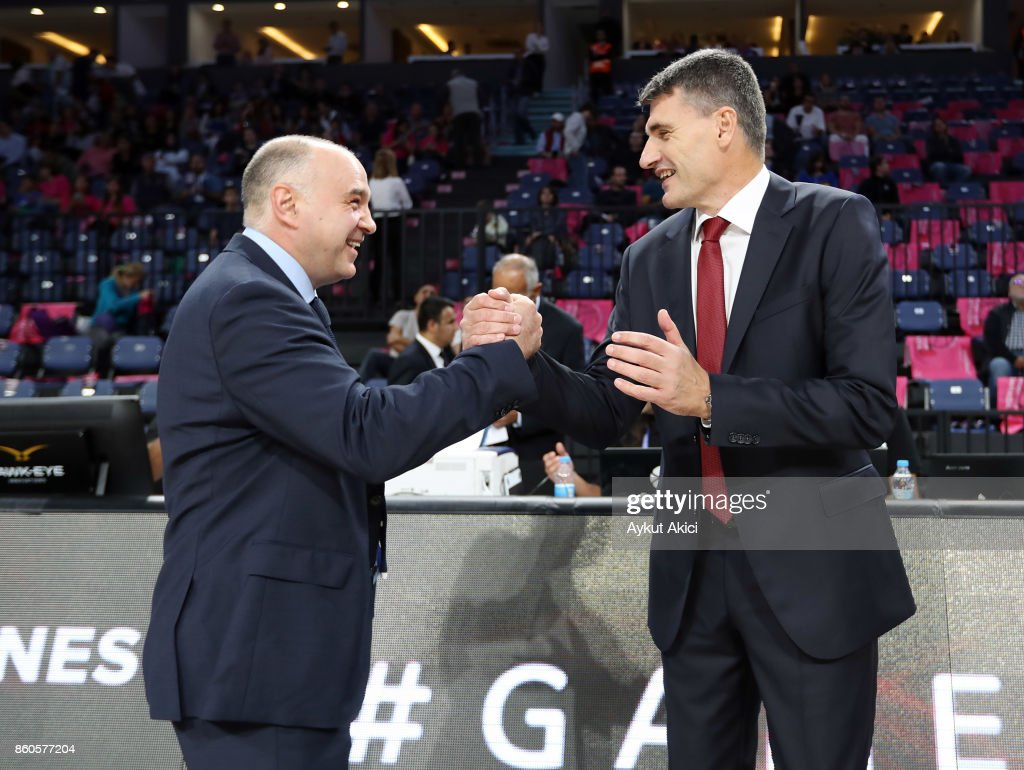 Pablo Laso, Head Coach of Real Madrid and Velimir Perasovic, Head Coach of Anadolu Efes Istanbul pictured prior to the 2017/2018 Turkish Airlines EuroLeague Regular Season Round 1 game between Anadolu Efes Istanbul v Real Madrid at Sinan Erdem Dome on October 12, 2017 in Istanbul, Turkey.