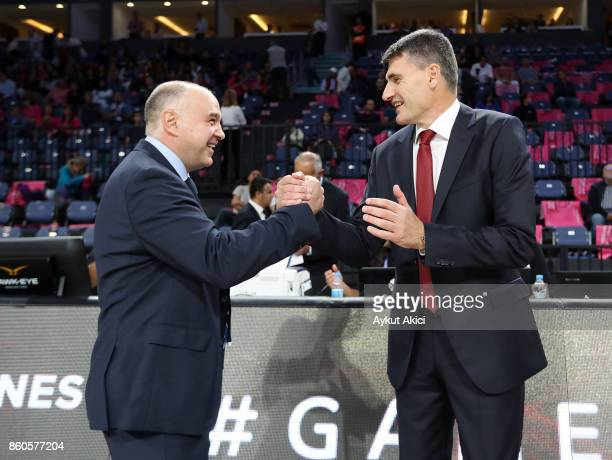 Pablo Laso Head Coach of Real Madrid and Velimir Perasovic Head Coach of Anadolu Efes Istanbul pictured prior to the 2017/2018 Turkish Airlines...