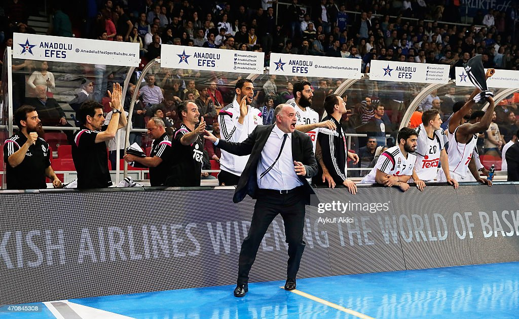 Pablo Laso Head Coach of Real Madrid celebrates victory during the 20142015 Turkish Airlines Euroleague Basketball Play Off Game 4 between Anadolu...