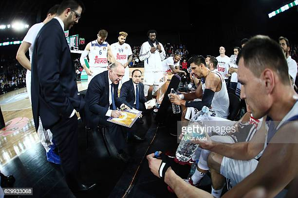 Pablo Laso Head Coach of Real Madrid in action during the 2016/2017 Turkish Airlines EuroLeague Regular Season Round 12 game between Darussafaka...
