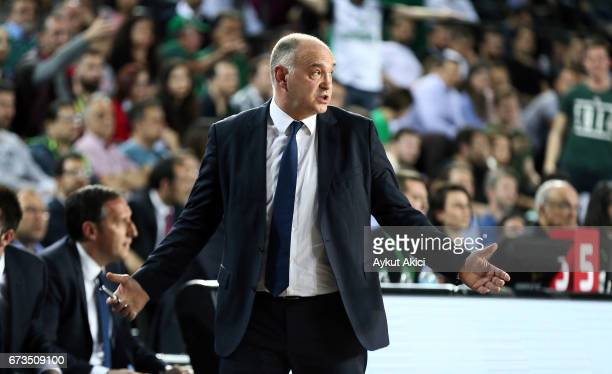 Pablo Laso Head Coach of Real Madrid in action during the 2016/2017 Turkish Airlines EuroLeague Playoffs leg 3 game between Darussafaka Dogus...