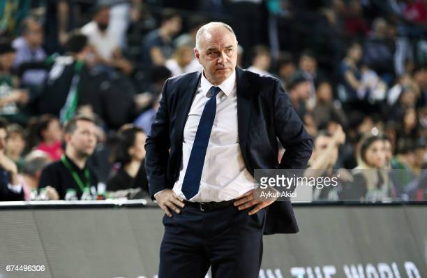 Pablo Laso Head Coach of Real Madrid in action during the 2016/2017 Turkish Airlines EuroLeague Playoffs leg 4 game between Darussafaka Dogus...