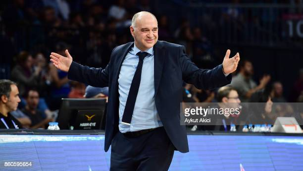 Pablo Laso Head Coach of Real Madrid in action during the 2017/2018 Turkish Airlines EuroLeague Regular Season Round 1 game between Anadolu Efes...