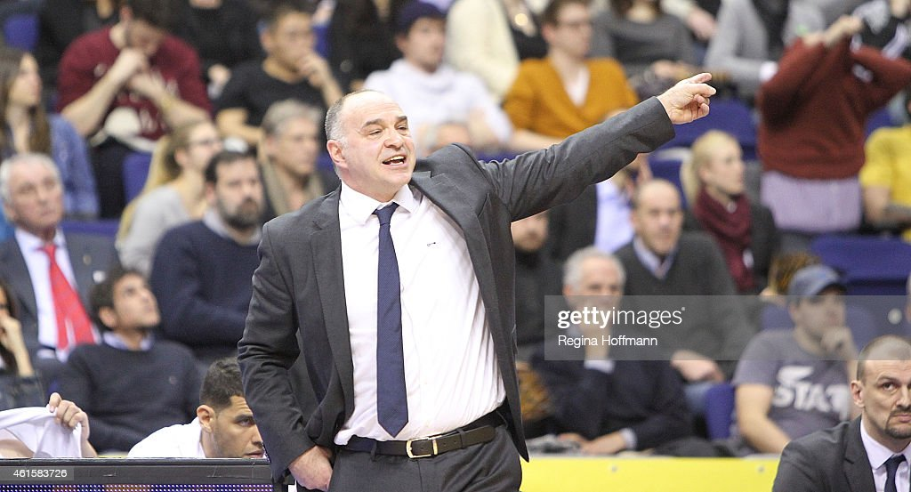 <a gi-track='captionPersonalityLinkClicked' href=/galleries/search?phrase=Pablo+Laso&family=editorial&specificpeople=8393239 ng-click='$event.stopPropagation()'>Pablo Laso</a>, Head Coach of Real Madrid in action during the Euroleague Basketball Top 16 Date 3 game between Alba Berlin v Real Madrid at O2 World on January 15, 2015 in Berlin, Germany.