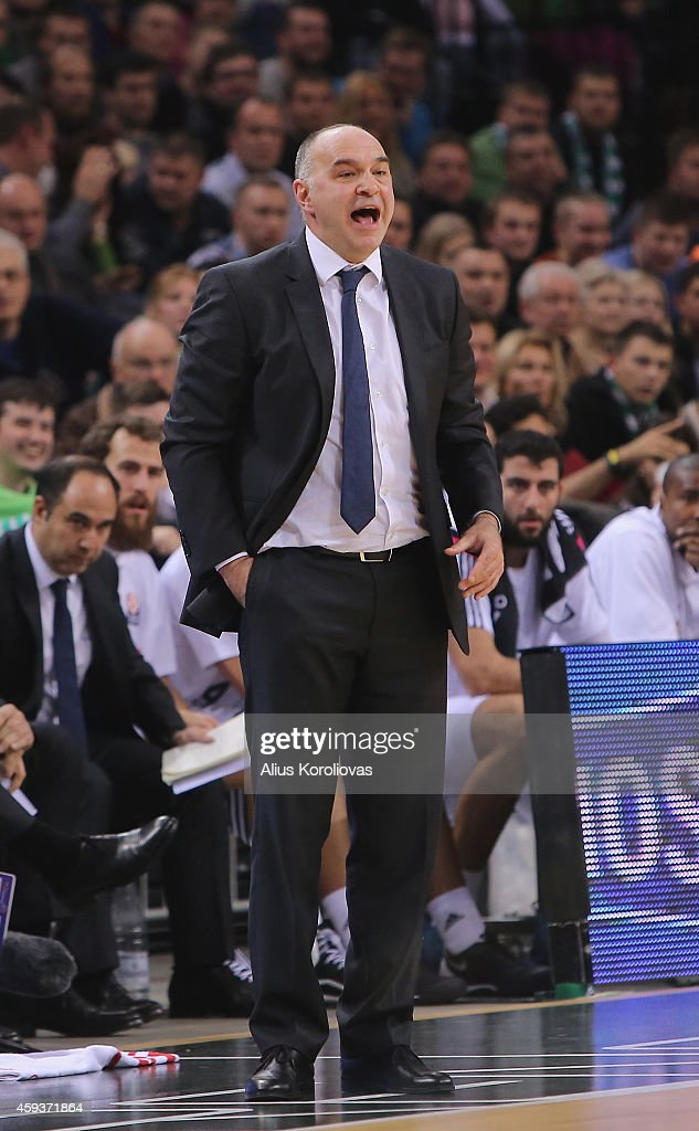 <a gi-track='captionPersonalityLinkClicked' href=/galleries/search?phrase=Pablo+Laso&family=editorial&specificpeople=8393239 ng-click='$event.stopPropagation()'>Pablo Laso</a>, Head Coach of Real Madrid reacts during the 2014-2015 Turkish Airlines Euroleague Basketball Regular Season Date 6 game between Zalgiris Kaunas v Real Madrid at Zalgirio Arena on November 21, 2014 in Kaunas, Lithuania.
