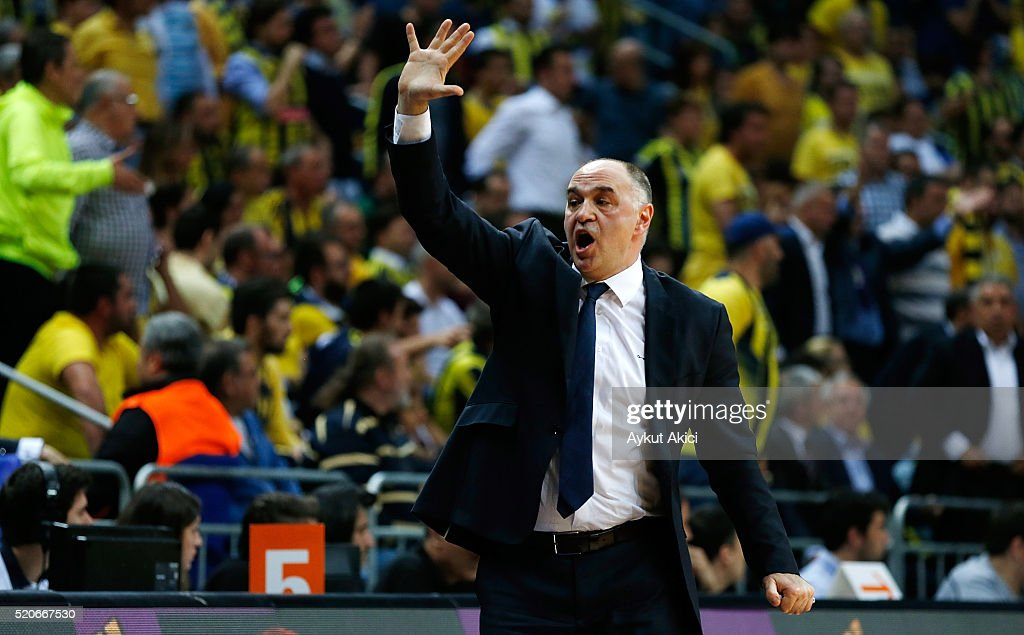 <a gi-track='captionPersonalityLinkClicked' href=/galleries/search?phrase=Pablo+Laso&family=editorial&specificpeople=8393239 ng-click='$event.stopPropagation()'>Pablo Laso</a>, Head Coach of Real Madrid reacts during the 2015-2016 Turkish Airlines Euroleague Basketball Playoffs Game 1 between Fenerbahce Istanbul v Real Madrid at Ulker Sports Arena on April 12, 2016 in Istanbul, Turkey.