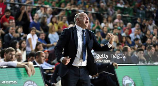 Pablo Laso Head Coach of Real Madrid reacts during the 2016/2017 Turkish Airlines EuroLeague Playoffs leg 4 game between Darussafaka Dogus Istanbul v...
