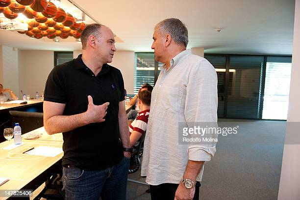 Pablo Laso Head Coach of Real Madrid talking to Zeljko Obradovic Coaching Legend before the Euroleague Basketball Head Coaches Meeting at Euroleague...