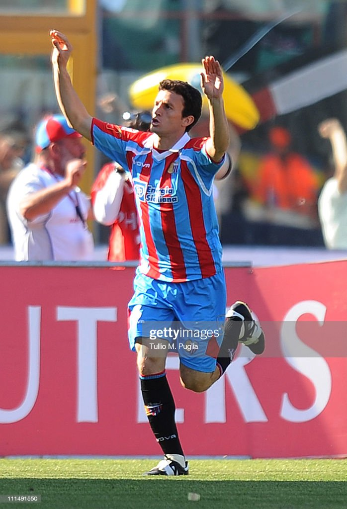 Pablo Ledesma of Catania celebrates after scoring the 30 goal during the Serie A match between Catania Calcio and US Citta di Palermo at Stadio...