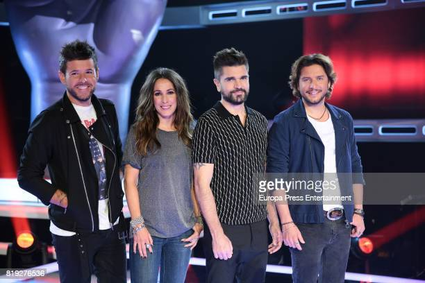 Pablo Lopez Malu Juanes and Manuel Carrasco during 'La Voz' 5th Edition and 'La Voz Kids' 4th Edition Presentation on July 19 2017 in Madrid Spain