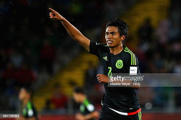 Pablo Lopez of Mexico celebrates after scoring a goal during the FIFA U17 World Cup Chile 2015 Group C match between Germany and Mexico at Estadio...