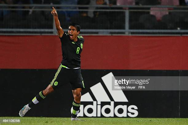 Pablo Lopez of Mexico reacts after scoring a goal during the FIFA U17 World Cup Chile 2015 Group C match between Germany and Mexico at Estadio Fiscal...
