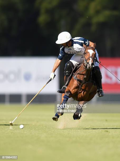 Pablo Mac Donough of La Dolfina hits the ball during a match between La Dolfina and La Irenita as part of the HSBC 124° Argentina Polo Open at Campo...