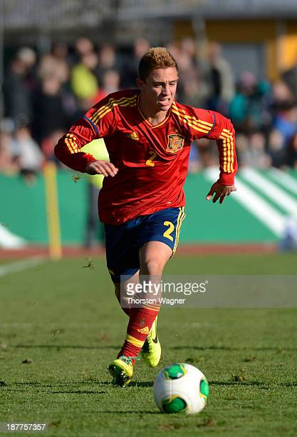 Pablo Maffeo Becerra of Spain runs with the ball during the U17 international friendly match between Germany and Spain at stadium Wetzlar on November...
