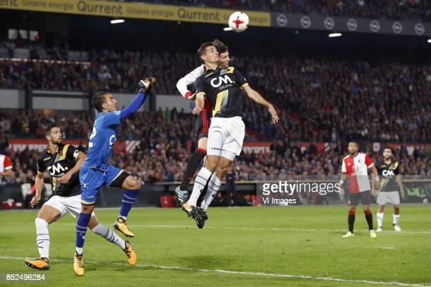Pablo Mari Villar of NAC Breda goalkeeper Mark Birighitti of NAC Breda Menno Koch of NAC Breda Michiel Kramer of Feyenoord during the Dutch...