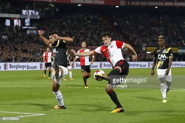 Pablo Mari Villar of NAC Breda Karim El Ahmadi of Feyenoord Eric Botteghin of Feyenoord Thierry Ambrose of NAC Breda during the Dutch Eredivisie...