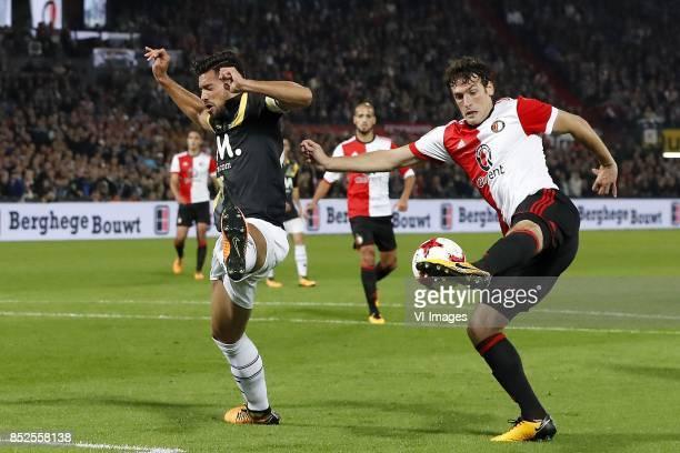 Pablo Mari Villar of NAC Breda Karim El Ahmadi of Feyenoord Eric Botteghin of Feyenoord during the Dutch Eredivisie match between Feyenoord Rotterdam...