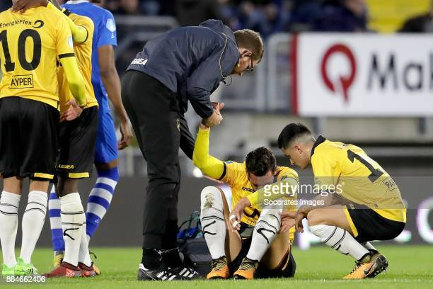 Pablo Mari Villar of NAC Breda Manu Garcia Alonso of NAC Breda during the Dutch Eredivisie match between NAC Breda v PEC Zwolle at the Rat Verlegh...