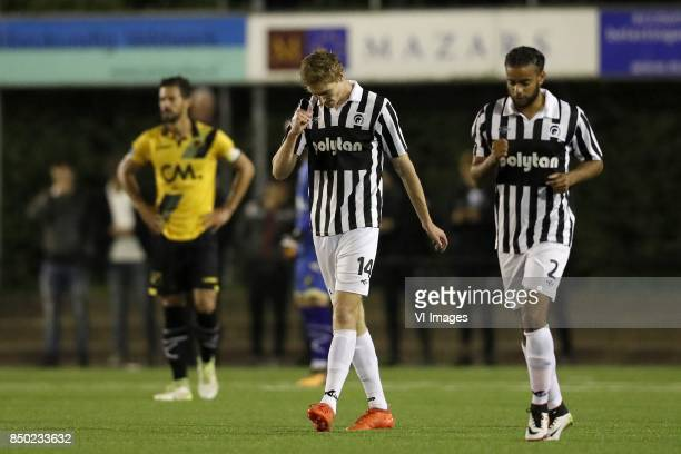 Pablo Mari Villar of NAC Breda Niels Wouters of Achilles 29 Derwin Martina of Achilles 29 during the First round Dutch Cup match between Achilles 29...